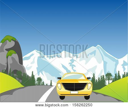 The Passenger car on road in mountain.Vector illustration