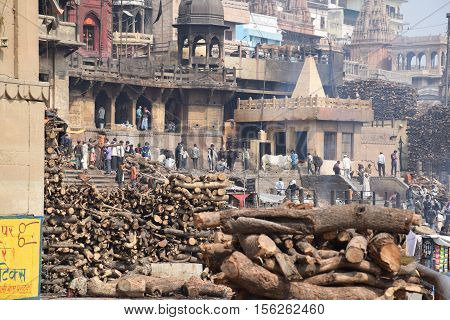 VARANASI, UTTAR PRADESH INDIA - FEBRUARY 17, 2016 - Wooden pyres for the cremation rituals on the ghats