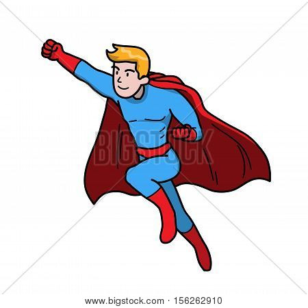 Strong Superhero Power Man to the Rescue. A hand drawn vector illustration of a flying man with super power.