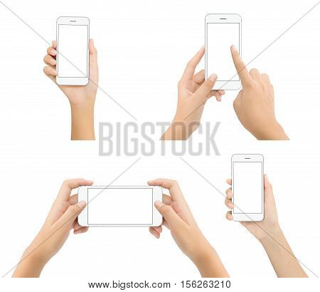hand hold phone blank screen isolated on white background mock-up white phone