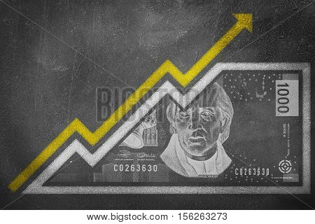 Money Growth Graph On A Chalk Board