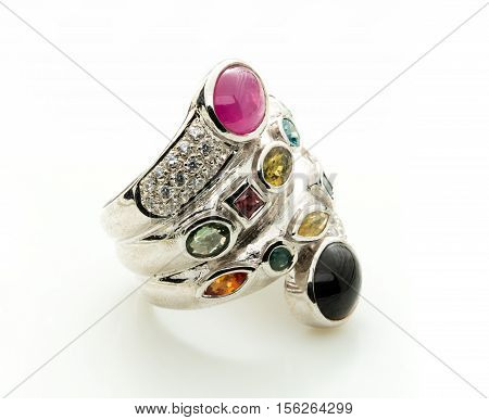 Ring With Differet Color Gemstone On Whit Background