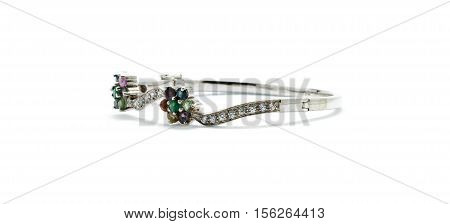 Beautiful Of Bracelet Inlaid With Gemstones Isolated On White Background