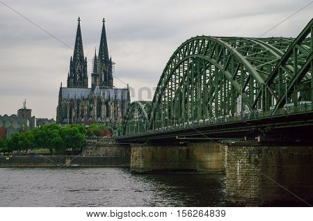 View Of  Cologne Cathedral From Side Of Hohenzollern Bridge, Germany