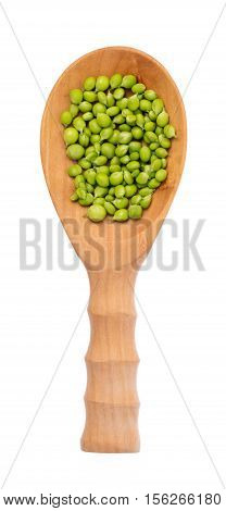 String Bean On Wood Ladle Isolated On White Background