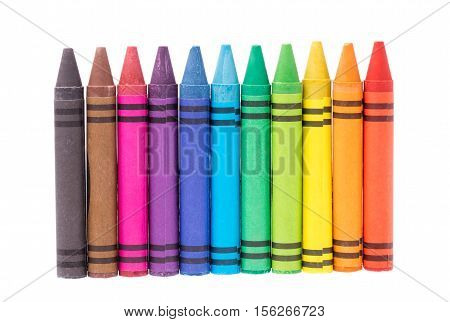 colorful of crayon isolated on white background