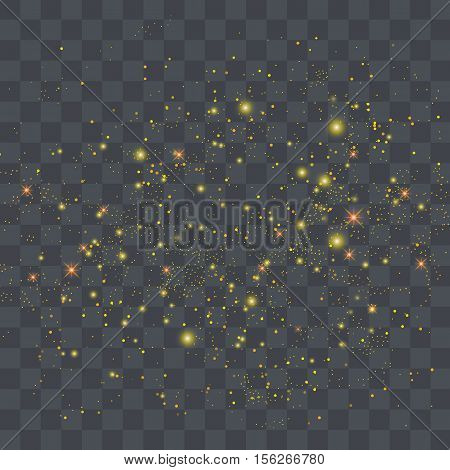 Vector gold glitter particles background effect for luxury greeting rich card.Star dust sparks in explosion on transparent background.