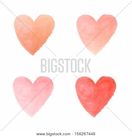 gradient orange and red heart watercolor paint isolated on white background background