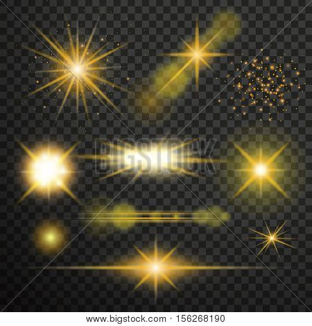 Transparent glow light effect. Star burst with sparkles.lens flares star lights and glow
