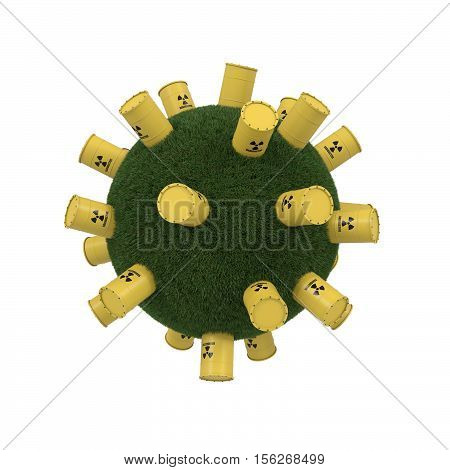 3D rendering of yellows barrels containing radioactive material on grass sphere