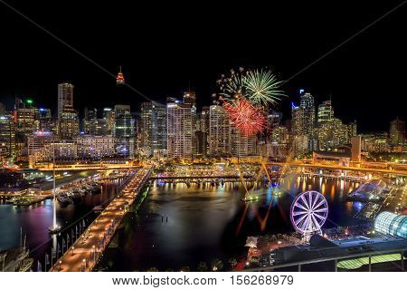 SYDNEY AUSTRALIA - November 12 2016 : Fireworks at Darling Harbour adjacent to the city center of Sydney and also a recreational place in Sydney central business district
