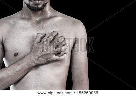 Young man having chest pain Heart attack. (Vintage style)