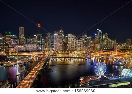 SYDNEY AUSTRALIA - November 12 2016 : Darling Harbour adjacent to the city center of Sydney and also a recreational place in Sydney central business district