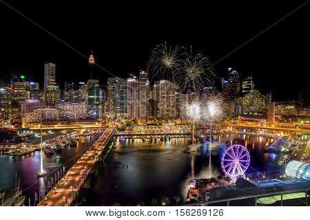 Sydney, Australia - November 12, 2016 : Fireworks At Darling Harbour, Adjacent To The City Center Of