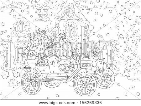 Black  and white vector illustration of Santa Claus with a big bag of Christmas presents on an old car
