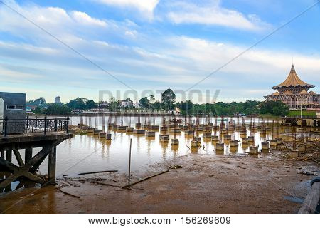 Construction of The Golden bridge on the Sarawak River in Kuching. Sarawak. Malaysia. Borneo