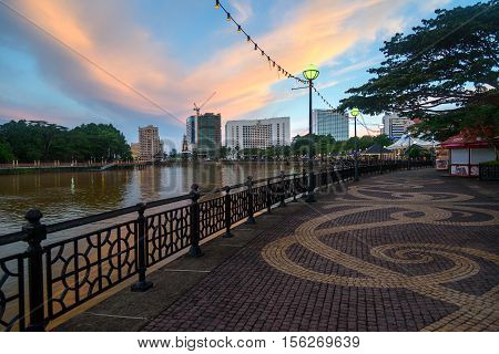 Kuching City Waterfront At Sunset