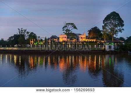 Palace Astana On The North Bank Of Sarawak River At Sunset