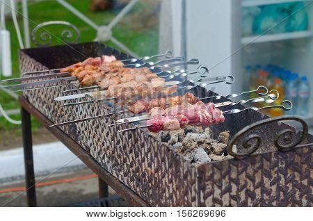 Shish kebab on skewers. Meat pork. Turkey