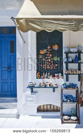 Nissyros Greece - May 17 2010: A traditional shop in the Mandraki village