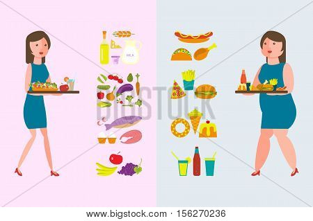 Banner Make your choice between Healthy and Fatty Food. Fat and thin women with lunch tray. Vector illustration