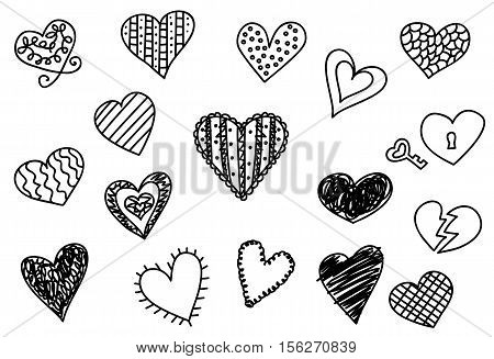 Doodle heart icons set hand drawn vetor illustrations