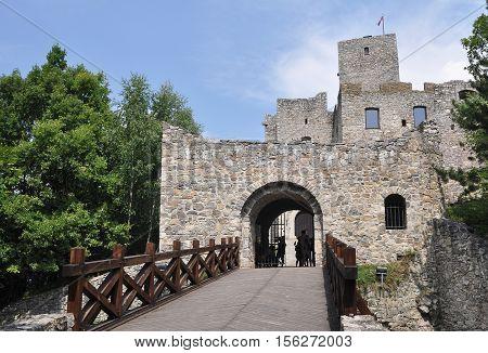 bridge to the Strecno castle in Slovakia