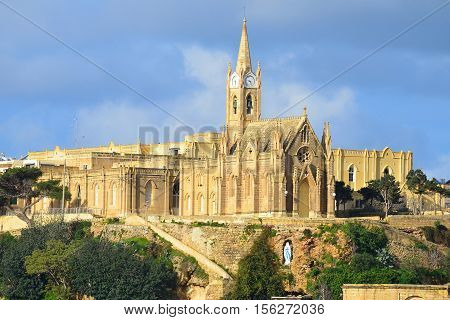 Gozo, Malta, Lourdes Church, a neo-gothic monument in village of Mgarr