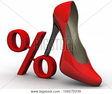 Discount on the purchase of women's shoes. Red percentage symbol for women's high heel shoes. 3D Illustration. Isolated