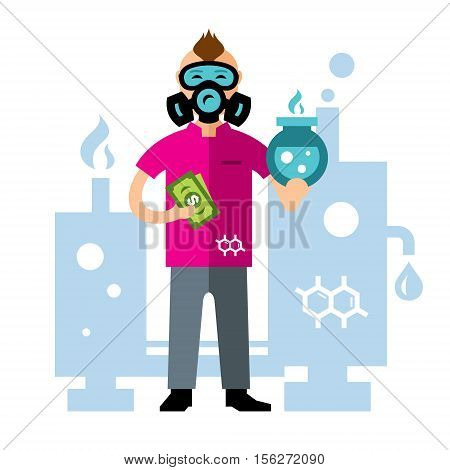 Chemist with the flask and the money in hand. Isolated on a white background