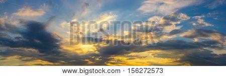 panoramic photo sunset sky nature background .