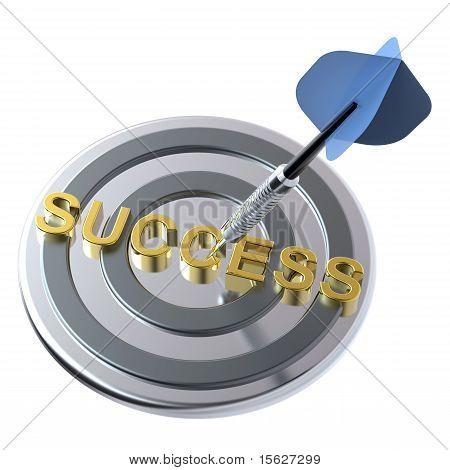蓝色 dart 目标上用黄金文本。