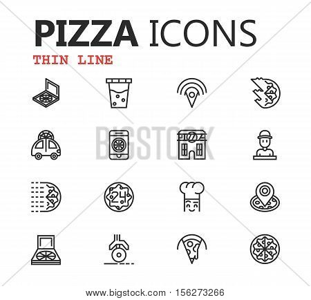 Simple modern set of pizza thin line icons. Premium symbol collection. Vector illustration. Simple pictogram pack. Editable Stroke. eps 10
