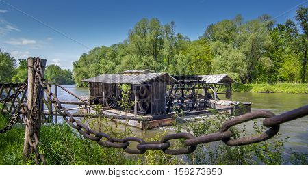 Traditional Water Mill On Mura River, Slovenia