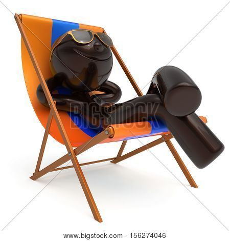 Smiling man rest beach deck chair sunglass summer cartoon character chilling stylized person sun lounger tourist have fun sunbathe relax lifestyle outdoor vacation travel destination. 3d illustration