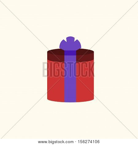 Christmas gift with ribbon icon. Giftbox color sign decoration isolated on white background. Flat design. Symbol New Year celebration presents surprise Merry Xmas holiday Vector illustration