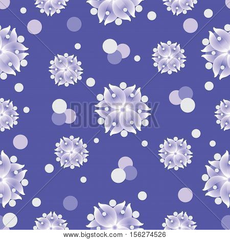 Snow flowers on a blue background. Seamless pattern. The cold color palette. Design for textiles, tableware, wrapping paper, covers, and cases.