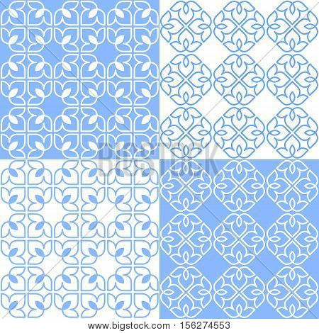 Set of 4 light blue and white patterns. Seamless repeat backgrounds with stylized linear lotus flowers in groups of four. Vector seamless repeat.