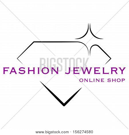 Jewelry shop icon. Vector illustration on white background