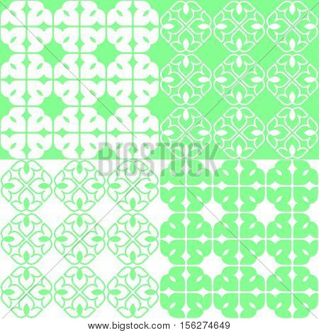 Set of 4 green and white patterns. Seamless repeat backgrounds with stylized linear lotus flowers in groups of four. Vector seamless repeat.