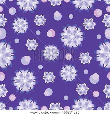 Snow pattern on a purple background. Seamless pattern. The cold color palette. Design for textiles, tableware, wrapping paper, covers, and cases.