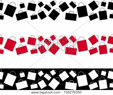 Shopping bag seamless ornament. Black Friday sales paper design. Sale or discount offer vector decoration. Narrow seamless pattern from red black and white shopping bags for sales tags and ribbons