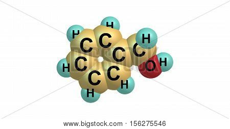 Benzyl alcohol is an aromatic alcohol with the formula C6H5CH2OH. It is a colorless liquid with a mild pleasant aromatic odor. 3d illustration