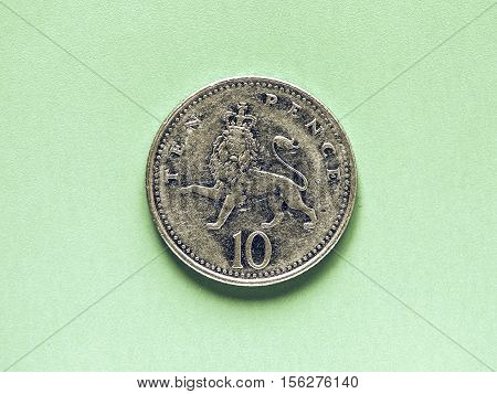 Vintage Gbp Pound Coin - 10 Pence