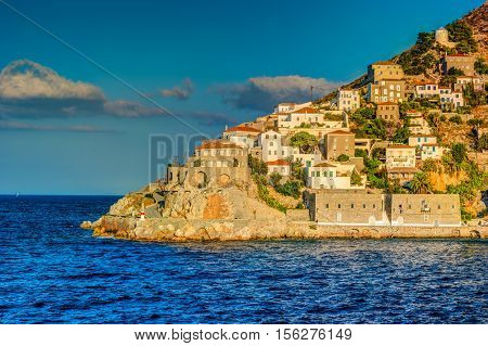 Hydra island on a summer day in Greece. Beautiful landscape with sea and island.