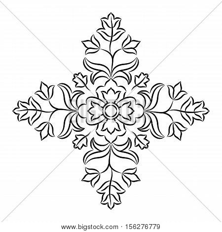 Floral mandala design element. Traditional Indian decorative motif isolated on white background.
