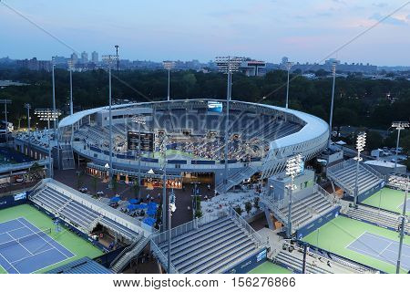 NEW YORK - SEPTEMBER 8, 2016: Newly constructed Grandstand Stadium at the Billie Jean King National Tennis Center ready for US Open tournament in Flushing, NY