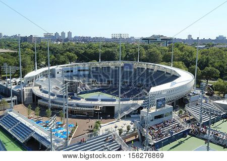 NEW YORK - AUGUST 23, 2016: Newly constructed Grandstand Stadium at the Billie Jean King National Tennis Center ready for US Open tournament in Flushing, NY