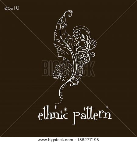 Ethnic pattern handmade feather Abstract decoration folk art style on body painting henna tattoo design author point curl a white pattern brown background text eps10 vector illustration Stock