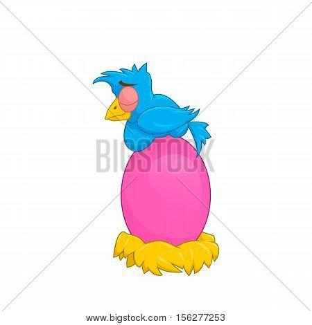 Bird. Funny cartoon bird. Bird sits on the egg. Bird blue collor egg pink. Isolated on white background. Vector illustration.